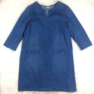 J.Jill Denim Chambray Denim Dress Pockets